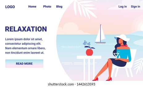 Relaxation Advertising Image. Monitor Screen. Woman Sitting at Table. Vector Illustration. Terrace Cafe. Terrace with View to Sea. Summer Enjoy. Woman in White Hat Sitting in Cafe by Sea.