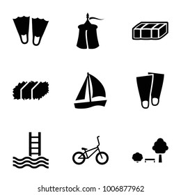 Relaxation icons. set of 9 editable filled relaxation icons such as garden bench, flippers, sailboat, bicycle, tent, pool ladder