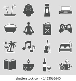 Relaxation Icons. Sticker Design. Vector Illustration.