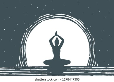 Relaxation, lifestyle concept sketch. Young beautiful girl doing yoga outdoors in the background of the moon. Vector hand drawn illustration.