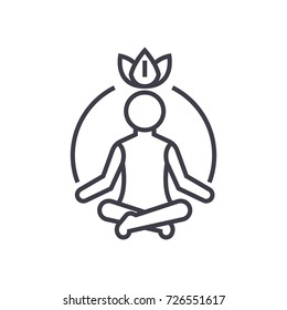 relaxation meditation,mindfulness,concentration vector line icon, sign, illustration on background, editable strokes