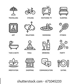 Relaxation Rest Time Black Thin Line Icon Set for Web and App. Vector illustration