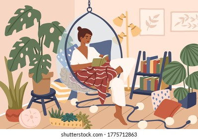 Relaxed black skin woman sitting in comfy hanging chair vector flat illustration. Female covering plaid reading book at cozy home interior. Time for yourself and relaxation at comfortable atmosphere