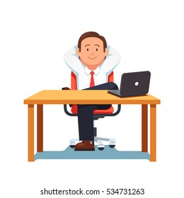 Relaxed business man entrepreneur sitting in office chair in confident pose at a clean desk with laptop computer. Flat style modern vector illustration.