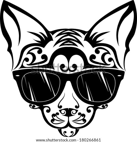 Relaxed cat - Illustration Relaxed cat tattoo - simple illustration in  black and white fe4a2c5149