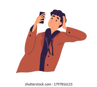 Relaxed guy looking at screen of smartphone vector flat illustration. Pensive male leaning on hand chatting use mobile phone isolated. Stylish man surfing internet or reading interesting information