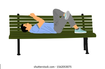 Relaxed lazy man laying down on bench in park with mobile phone vector isolated. Tired boy on pause after job. Outdoor enjoy in rest. Urban lazy boy ordering fast food by smart phone application.
