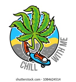 Relaxed leaf of marijuana which chill and to ride a skateboard on abstract background. Cartoon character weed in sneakers for print t shirt clothes sticker design poster patch. Modern illustration
