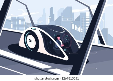 Relaxed man driving by smart car vector illustration. Autonomous vehicle self driving car equipped sensing and wireless communication flat style. Future technologies concept. Cityscape on background
