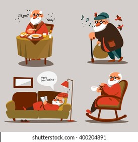Relaxed old man with white beard in various poses and situations. Portrait of senior expressing positivity and satisfaction. Contented and smiling cartoon man resting at home and go for a walk