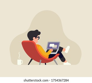 Relaxed reclined man in a lounge chair working on a laptop. Stress free job vector concept illustration with male character working from home or other comfortable place