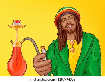 Relaxed smiling and carefree rasta man with dreadlocks in crocheted rastacap offering to smoke hookah pop art vector illustration. Marijuana, cannabis legal retail shop advertising banner template