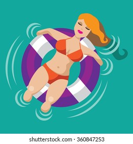 Relaxed woman floating in an inner tube. EPS 10 vector.