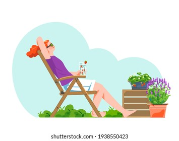 Relaxed woman on garden chair outdoor with fresh strawberry lemonade.  Blooming lavender bucket, strawberry in pot on green lawn. Vector flat illustration