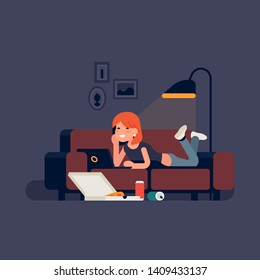 Relaxed young woman lying on a sofa watching film on a laptop with pizza delivery box and aluminium beverage cans on the floor. Couch potato concept illustration with girl watching movies on computer