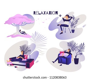 Relaxed young woman set - calm smiling girl enjoying rest sitting on comfortable furniture at home and under tree outdoors. Isolated cartoon vector illustration of relax and meditation theme.