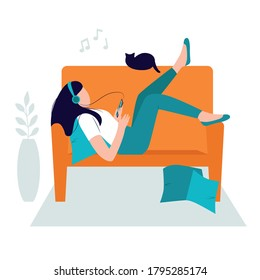 Relaxing concept, stay at home. Girl chilling on the sofa with headphones and listening to music. Woman resting and enjoying the sounds. Isolated vector illustration - Shutterstock ID 1795285174