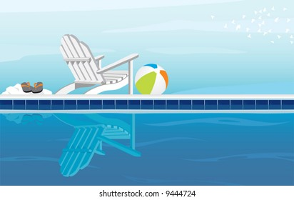 Relaxing depiction of swimming pool and Adirondack Chair; With Flip Flops, beach ball and a flock of birds