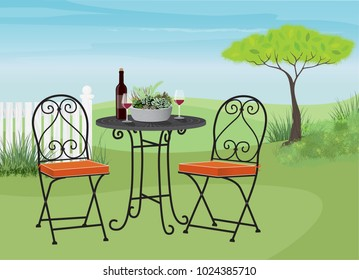 Relaxing garden lawn with a bistro table and chairs. Relax with a glass of wine in a beautiful landscape. Flat style vector with some painterly detail and depth. Cute planter of mixed succulents.