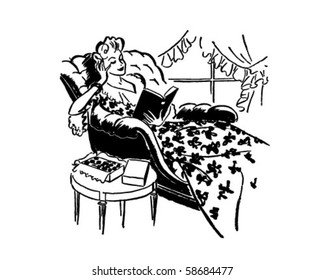Relaxing With A Good Book - Retro Clip Art