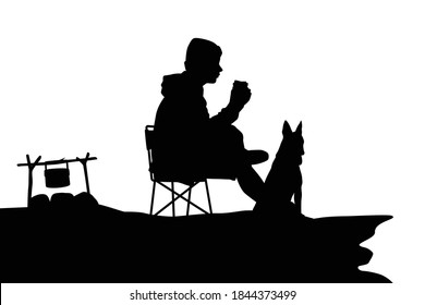 Relaxing man is resting with his dog silhouette vector
