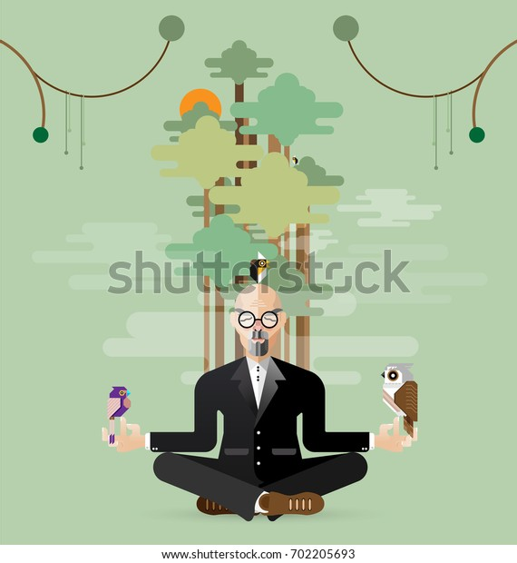 Relaxing old business meditating Yoga in nature