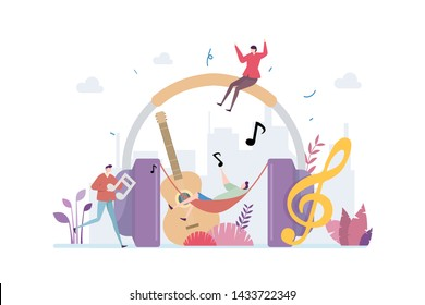 Relaxing Sound Therapy Vector Illustration Concept Showing a person having relaxing moment listening to music and sound, Suitable for landing page, ui, web, App intro card, editorial, flyer,and banner