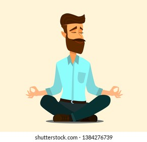 Relaxing and Stress Relief at Workplace Cartoon Vector Concept. Businessman Sitting in Lotus Position with Closed Eyes, Meditating in Noisy Office, Practicing Yoga. Zen in Work