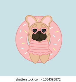 Relaxing Summer Fawn Coat French Bulldog in Pink Donut Lilo Cartoon Vector Illustration