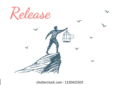 Release. Human released the birds from the cage to freedom. Vector lifestyle concept illustration, hand drawn sketch.