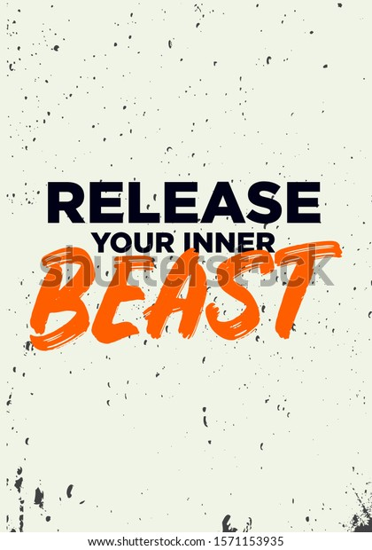 Release Your Inner Beast Gym Quotes Stock Vector (Royalty ...