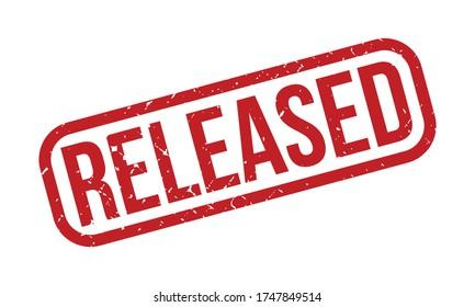 Released Rubber Stamp. Red Released Rubber Grunge Stamp Seal Vector Illustration