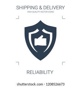 reliability icon. high quality filled reliability icon on white background. from shipping delivery collection flat trendy vector reliability symbol. use for web and mobile