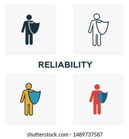 Reliability icon set. Four elements in diferent styles from business ethics icons collection. Creative reliability icons filled, outline, colored and flat symbols.