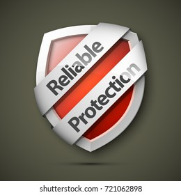 Reliable Protection guard shield concept. Safety badge, protection icon. Privacy colorful banner shield. Security label. Defense tag. Presentation sticker shield. Defense safeguard sign. Vector badge