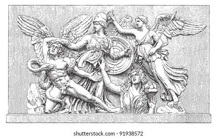 Relief altar Athene - greek sculpture / vintage illustration from Meyers Konversations-Lexikon 1897