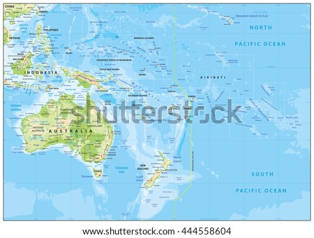 Relief Map Oceania Names Town Marks Stock Vector (Royalty Free ...