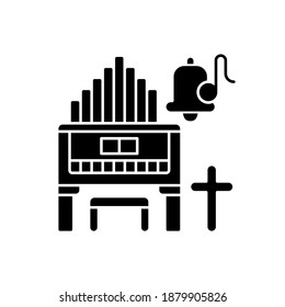 Religeous music black glyph icon. Huge organs. Piano types. Bell with song note. Christian music. Cross symbol. Worship events. Silhouette symbol on white space. Vector isolated illustration