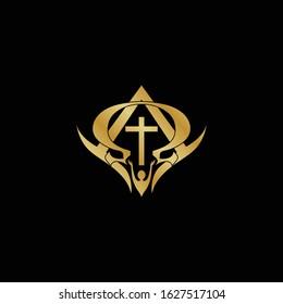 Religion Alpha Omega + Cross + People Logo Designs