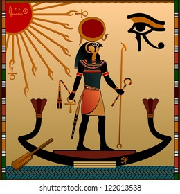 Religion of Ancient Egypt. The gods of ancient Egypt - Aten and Ra. Ra in the solar bark.