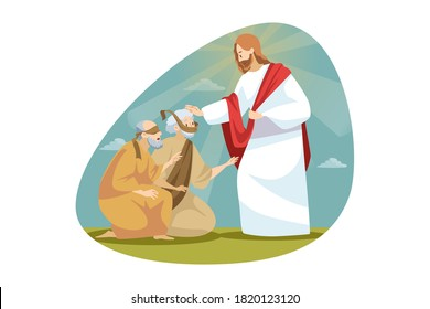 Religion, bible, christianity concept. Jesus Christson of God biblical character makes miraculous healing of blindness. Messiah takes vision to blind people back by touching him. Divine help and