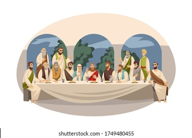 Religion, Bible, christianity concept. New Testament biblical religious series illustration. Last Supper of Jesus Christ christian character and 12 apostles disciples before son of God crucifixion.