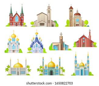 Religion building vector icons with churches, temples and mosques, synagogue, cathedral and monastery with towers, crosses, chapels and crescent. Muslim, christian and lutheran religious architecture