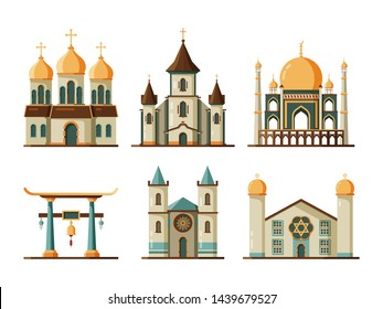 Religion buildings flat. Lutheran and christian church muslim mosque architectural traditional buildings. Church and mosque building, architecture religion temple and cathedral illustration - Shutterstock ID 1439679527