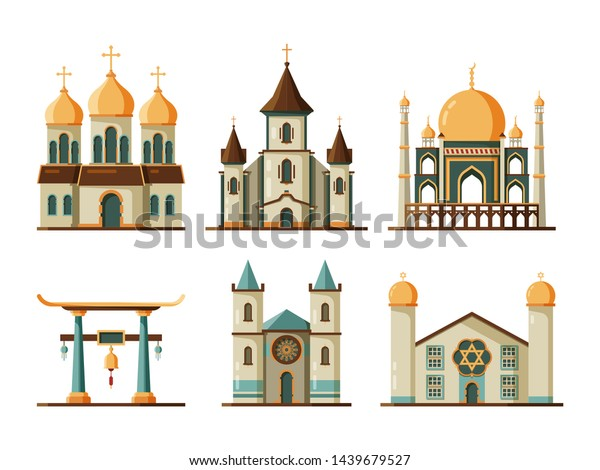 Religion buildings flat. Lutheran and christian church muslim mosque architectural traditional buildings. Church and mosque building, architecture religion temple and cathedral illustration