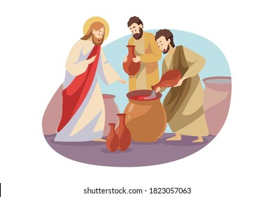 Religion, christianity, bible concept. Jeus christ son of god christian biblical religious character turning water into wine alcoholic beverage drink. Divine miracle and Lord power illustration.