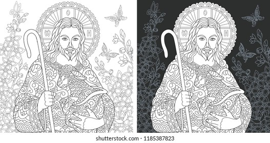 Religion. Coloring Page. Coloring Book. Colouring picture with Jesus Christ drawn in zentangle style. Antistress freehand sketch drawing. Vector illustration.
