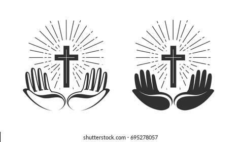 Religion concept. Bible, church, faith, pray icon or symbol. Vector illustration