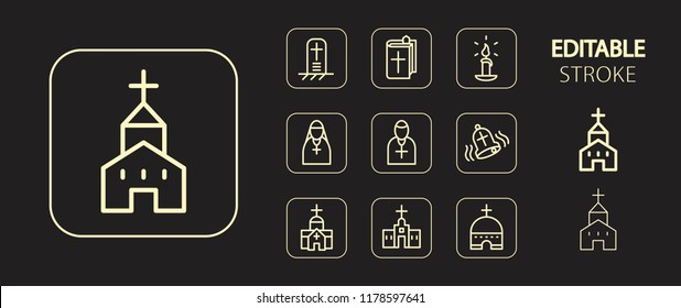 Religion concept. Christian and catholic religious buttons. Golden icon set. Simple outline web icons. Editable stroke. Vector illustration.