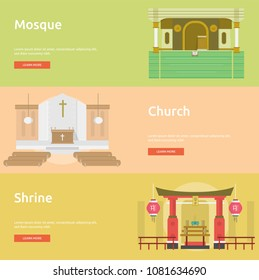 Religion Conceptual Banner | Mosque, Church and Shrine